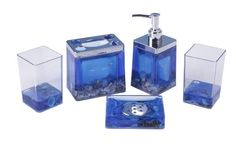 Ocean Bathroom Accessory Set 5 pcs Starfish Acrylic Set for Gift Ocean Bathroom, Bathroom Sets, Dish Soap Dispenser, Acrylic Set, Bathroom Accessories Sets, Kitchen Accessories, Bathroom Hardware, Luxury Bath, Glass Design