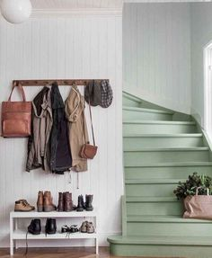 The Best 24 Painted Stairs Ideas for Your New Home Green stairs, functional entryway, coat rack and shoe table. But mostly I love those stairs!Green stairs, functional entryway, coat rack and shoe table. But mostly I love those stairs! Painted Stairs, Painted Staircases, Vestibule, Stairways, My Dream Home, Interior Inspiration, Color Inspiration, New Homes, House Design