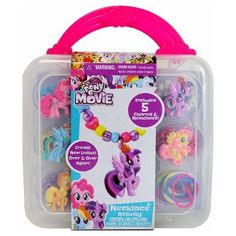 She's sure to be head over heels for this Jewelry Kit from My Little Pony. Included with this fun jewelry kit for kids are 5 different My Little Pony charms that feature different characters, 5 lengths of rubberized string with easy clasps, and over 150 plastic beads ranging from heart shapes to sparkling stars. Watch in wonder as your little girl creates the necklaces of her dreams for up to five her friends or family members.