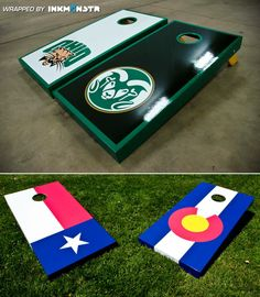 Are you looking to customize your game with your favorite team or alma mater? Ink Monstr has perfected the custom corn hole wrap (aka bean bag toss) for a variety of clients. Check out the Colorado State University & Ohio University boards we recently printed and wrapped. #inkmonstr, #customcornhole