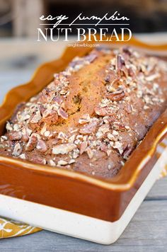 A seriously Easy Pumpkin Nut Bread that you can whip up in one bowl in just minutes! Your friends will be begging you for this recipe!