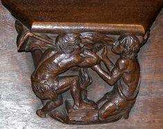 Misericord from collegial St Martin of Colmar (FRANCE) Small Wooden Shelf, Wooden Shelves, Petite Console, Mercy Seat, Folding Seat, 15th Century, Renaissance, Medieval, Lion Sculpture