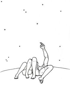 Image about love in Bakgrunn by uglepower on We Heart It Couple Drawings, Easy Drawings, Minimal Drawings, Art Du Croquis, Look At The Stars, Stargazing, Line Drawing, Art Sketches, Art Inspo