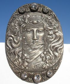 "ART NOUVEAU ""LADY ""RHINESTONES~OVAL 1940s PEWTER~VINTAGE ANTIQUE PICTURE BUTTON"
