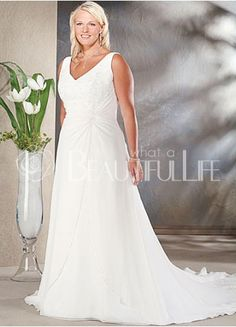 1dc06ba3b8d  264.99 Plus Size Chapel Train Satin Embroidery Empire Waist  V-neck Bridal  Dress