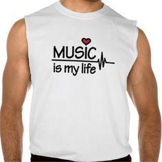 Music is my life heart sleeveless shirts Tank Tops