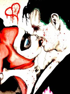 Joker Harley Quinn Kiss watercolor Art Print