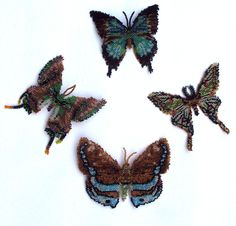 Four Brown and Aqumarine Butterflies and Moths Beading Pattern at Sova-Enterprises.com