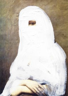 Chad Wys, Cloaked Girl, 2012, paint on laser print