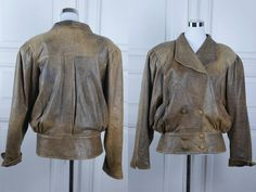 European Vintage Women's Leather Jacket, Sandy Brown 1980s European Double-Breasted Soft Leather Coat w Wide Lapels: Size 10/12 US, 14/16 UK by YouLookAmazing on Etsy