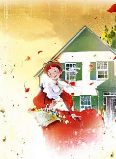 Anne of Green Gables illustration by Kim, Ji-Hyuck(김지혁)(hanuol). Anne With An E, Anne Shirley, Smart Art, Gif Animé, Children's Book Illustration, Cartoon Drawings, Cute Cartoon, Cute Art, Fan Art