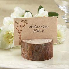 Rustic Real Wood Place Card Holder