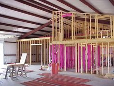 When we use the term interior framing, we are speaking of the structure that supports the interior walls within a metal building. Brian Fritz Framing 2 - Good ideas about interior framing and girt Metal Building Kits, Steel Building Homes, Building A House, Building Ideas, Building Plans, Morton Building, Building Images, Building Designs, Metal Barn Homes