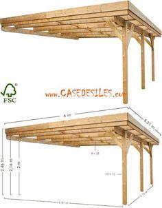 Carport bois à Prix Imbattable : Carport adossant bois 2 voitures 31.26mc 0700425