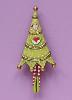 """PATIENCE BREWSTER 2013 TREE PIN Dimensions: 3.5"""" Primary Material: Stone Resin These new pins by Patience Brewster are wonderful treasures all made by hand one at a time, and include a pin back as well as a loop for your favorite ribbon or chain so they also double as a necklace!"""