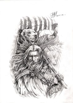Викинг-Берсерк арт для тату