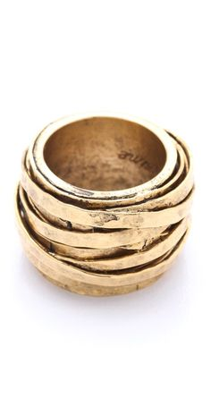 Citrine by the Stones /  Wire Ring / This antiqued, gold-plated ring features hammered wire detailing.