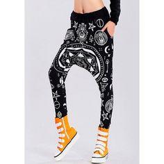 LOOSE-FITTING PRINTED BLACK HAREM PANTS - vpstyles #mens #mensfashion #menpants