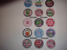 This is for 15 one inch  flat back or pin back buttons made on a professional button machine.  You will receive the 15 as shown in the picture as flat backs, if you want them with a pin back be sure t