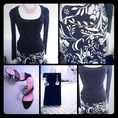 Black and White Ralph Lauren Elastic Waist Skirt Polyester black and white floral lined lined skirt.  Reduced price because of slight snag in fabric in back.  Beautiful panels with slight flare to bottom of skirt. Ralph Lauren Skirts