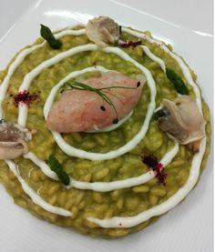 Risotto carnaroli, asparagi, maionese di calamaro, crudo di gamberi rossi e tartufi di mare - ricetta inserita da Carlo Spina