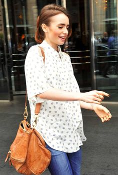 Lily Collins || printed oxford + slouchy leather bag