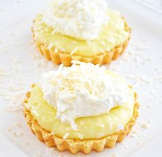 These Coconut Cream Tarts with a Shortbread Cookie Crust are simple to make, and are SO delicious! This recipe makes 6 - 3 inch tarts, or 1 -10 inch tart.