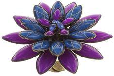 ring Psychodahlia blue/lila antique brass