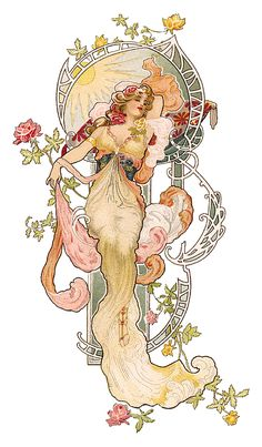 Art nouveau lady by Eva Daniell.