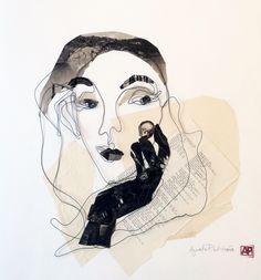 Steel wire portrait. Paper collage. Greta. 50x50 cm.