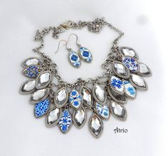 Portugal Antique Azulejo Tile Replica Necklace SET  from by Atrio