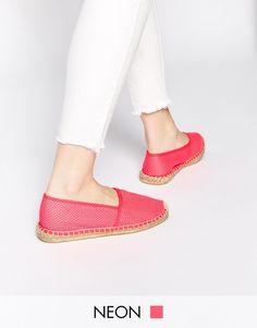 Image 1 ofPieces Haisha Mesh Neon Fuschia Espadrille Flat Shoes