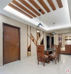 Flat in Cleo County: Statement Interiors & Muted Colours Wooden Ceiling Design, House Ceiling Design, Ceiling Design Living Room, Bedroom False Ceiling Design, Wooden Ceilings, Apartment Interior, Apartment Design, Flat Interior Design, Dining Area Design
