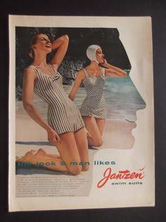 1957 JANTZEN SWIMSUIT AD Original Vintage Magazine Advertisement Swimwear Pin Up Girl Bathing Suit Ready To Frame on Etsy, $10.00
