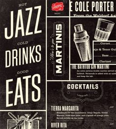 Jazzy menu for whisky & coctail bar