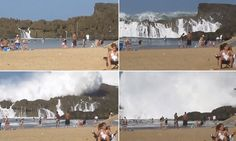 When fellow holidaymakers turned around to stare in awe at the gigantic oncoming wave at a Puerto Rico beach, one woman was unmoved.