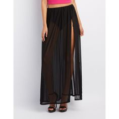 Charlotte Russe Sheer Mesh Maxi Skirt ($22) ❤ liked on Polyvore featuring skirts, black, maxi skirt, ruched maxi skirt, ankle length skirt, slit skirt and long skirts