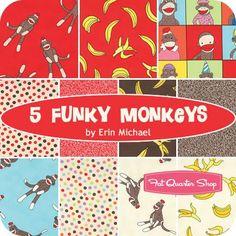 5 Funky Monkeys Fat Quarter BundleErin Michael for Moda Fabrics | Fat Quarter Shop