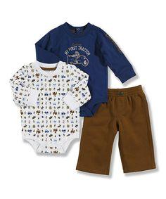 Look what I found on #zulily! Blue & Brown Bodysuit Set - Infant by Carhartt #zulilyfinds