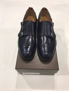428e94bd737 Gucci Men s Blue Leather Monk Strap toe. double Buckle dress shoe.  900  retail
