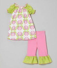 Look at this #zulilyfind! Pink Tulip Peasant Top & Ruffle Capri Pants - Toddler & Girls #zulilyfinds