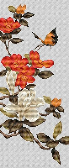 Click to close image, click and drag to move. Use arrow keys for next and previous. Butterfly Cross Stitch, Cross Stitch Rose, Cross Stitch Flowers, Bird Embroidery, Cross Stitch Embroidery, Beautiful Flower Designs, Magnolia Flower, Crafty Craft, Counted Cross Stitch Patterns