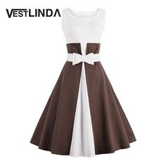 VESTLINDA Color Block Pin Up Vintage Dress Women 2017 Summer O Neck Sleeveless Tank Bow Belt A-Line Midi Dress Vestidos Mujer
