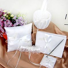 Wedding Collection Set in Ivory Satin With Butterfly Embroidery (5 Pieces) – USD $ 41.99