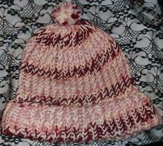 Hand Crocheted Winter Knit Beanie Style Ski Hat Dusty Rose Cream Handmade OSFM #Handmade #Beanie