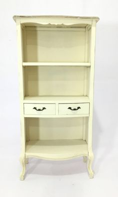 """PYF-0337--Wooden White Brown Top Open Book Rack Middle 2 Drawer (H56""""XW27""""XD12"""")"""