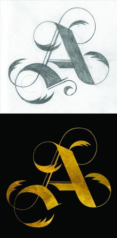 """The Golden A – Shannon Snow. From """"Illustrated Alphabet"""" series. Calligraphy Alphabet, Calligraphy Fonts, Typography Letters, Graphic Design Typography, Types Of Lettering, Lettering Styles, Lettering Design, Graffiti, Schrift Tattoos"""