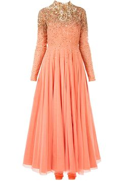 Coral and gold coral indian gown