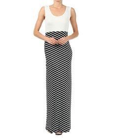 Look at this #zulilyfind! Ivory & Black Diagonal Stripe Maxi Dress by J-Mode USA Los Angeles #zulilyfinds
