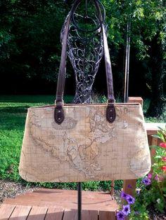 World Map Fabric Handbag Purse Carpet Bag Gold by SadiesSnippets